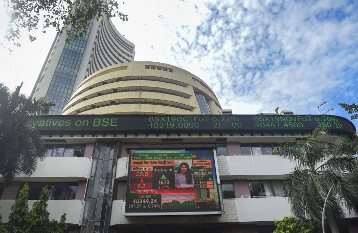 A view of the the stock prices displayed on a digital screen outside BSE building, in Mumbai. (PTI Photo)