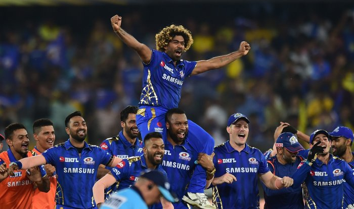 Mumbai Indians (MI) player Keiron Pollard lifts Lasith Malinga on his shoulders as they celebrate their win over Chennai Super Kings (CSK) at the Indian Premier League 2019 final cricket match at Rajiv Gandhi International Cricket Stadium in Hyderabad. (PTI Photo)