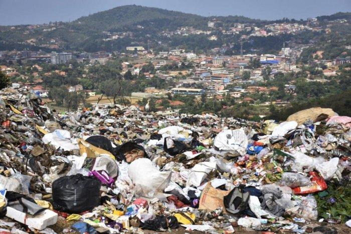 The waste dumped on Stone Hills, Madikeri.