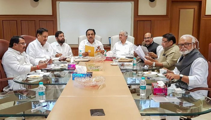Congress, Shiv Sena and NCP leaders during a joint meeting for a Common Minimum Programme, in Mumbai