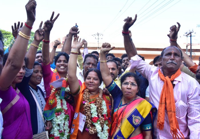 BJP women candidates celebrate after being elected as corporators outside the counting centre at Rosario School at Pandeshwar in Mangaluru on Thursday.