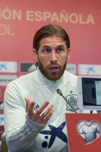 Spain's defender Sergio Ramos gives a press conference at the Ramon de Carranza stadium in Cadiz.(Photo by AFP)