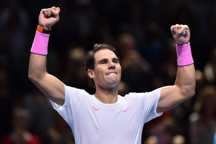 Rafael Nadal celebrates victory against Greece's Stefanos Tsitsipas during their men's singles round-robin match on day six of the ATP World Tour Finals tennis tournament at the O2 Arena in London. AFP