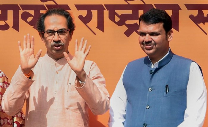 Uddhav Thackeray and Devendra Fadnavis during happier times.