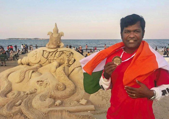 Sudarsan Pattnaik, the famous sand artist of India. (PTI Photo)