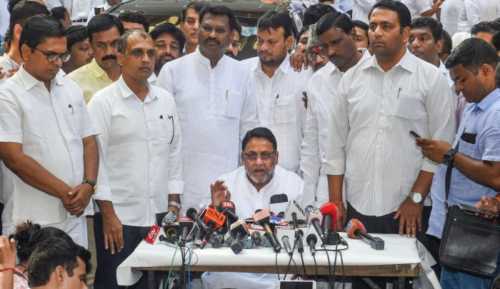 NCP Maharashtra President Nawab Malik interacts with media after the NCP MLA's meeting. (PTI Photo)