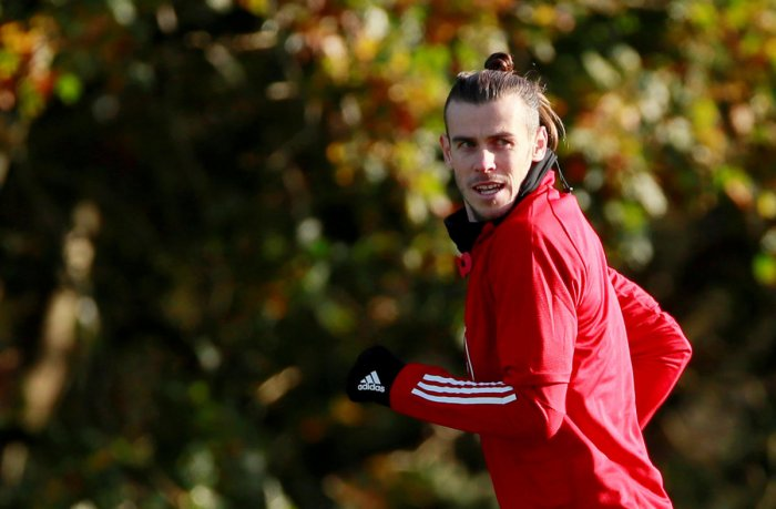 Wales' Gareth Bale during training. (Reuters Photo)