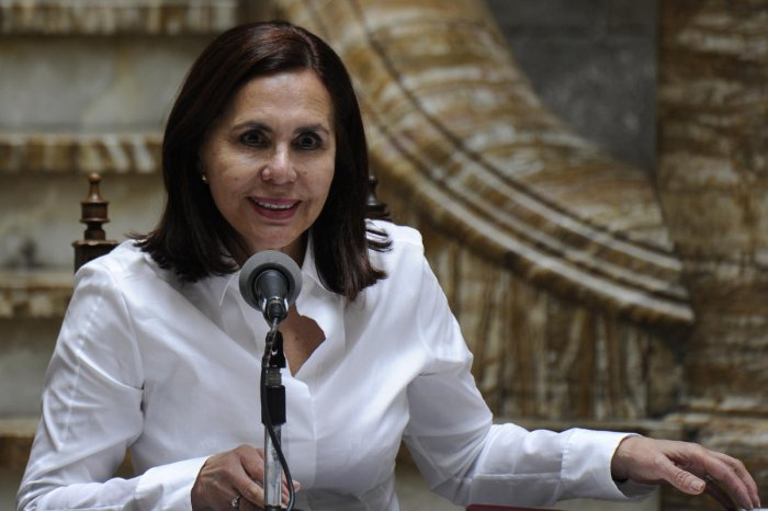 Bolivian Foreign Minister Karen Longaric speaks during a press conference on the situation of Cuban citizens denounced as detained by the Cuban government in La Paz. (AFP Photo)