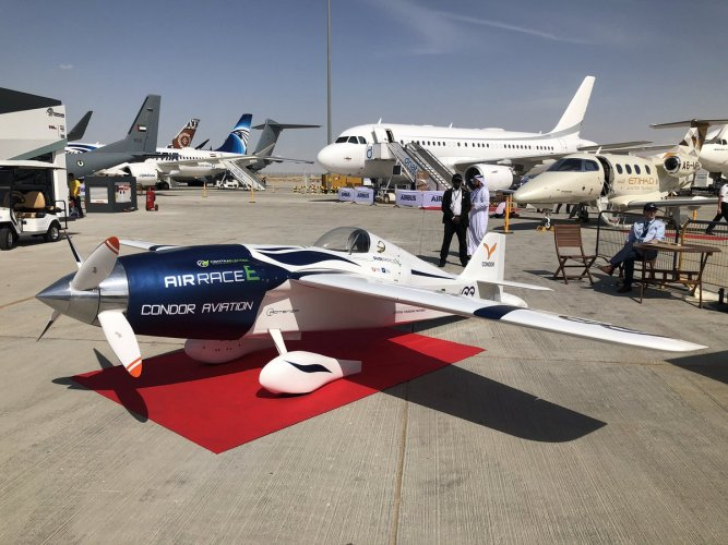 Condor Aviation's modified Cassutt aircraft, unveiled Dubai Airshow as the 1st Air Race E airplane. Airbus is providing insight & research for teams in this all-electric plane racing championship. (Twitter/@Airbus)