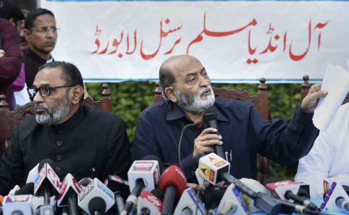 All India Muslim Personal Law Board secretary Zafaryab Jilani and member S.Q.R. Iliyas address a press conference, in Lucknow, Sunday, Nov. 17, 2019. AIMPLB will file review petition against Supreme Court verdict on Ayodhya issue and said it was against accepting the five-acre alternative land given for a mosque. (PTI Photo)