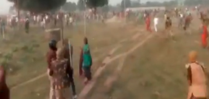 The farmers are demanding better compensation for their land acquired for the Trans-Ganga City project, an upcoming township near Kanpur. (Screengrab from ANI video tweet/@ANINewsUP)