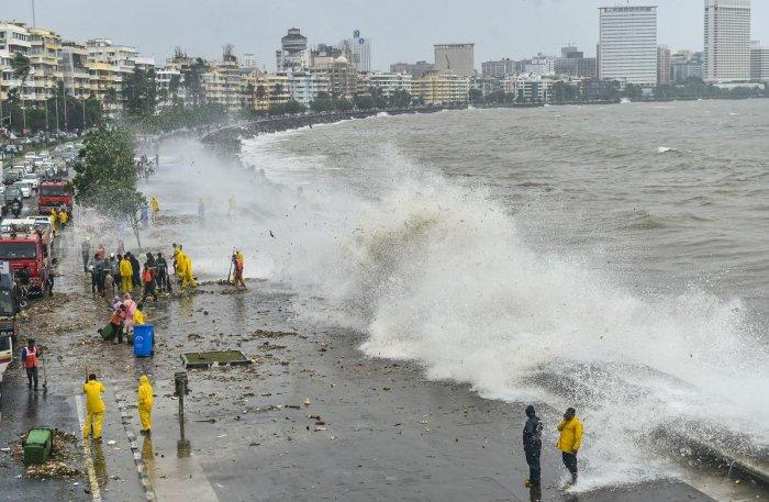 A high tide at Marine Drive promenade in Mumbai. pti