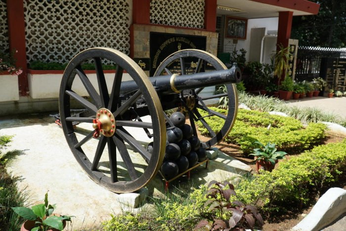 An 18th-century cannon outside the Madras Sappers Museum in Bengaluru on Saturday. DH PHOTO/AKHIL KADIDAL