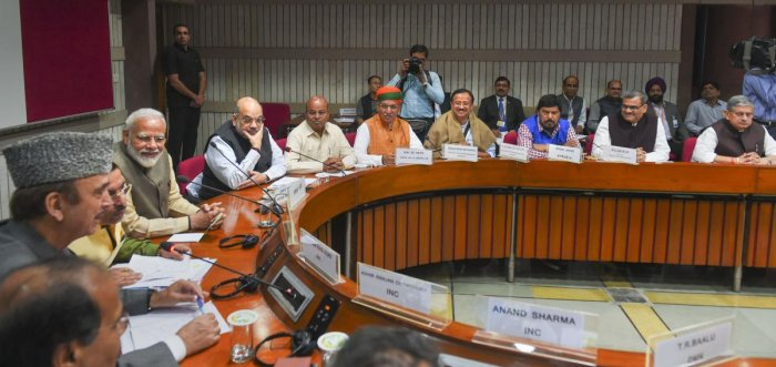 Prime Minister Narendra Modi, Home Minister Amit Shah, Parliamentary Affairs Minister Prahlad Joshi, Senior Congress leader Ghulam Nabi Azad, MoS Parliamentary Affairs Minister Arjun Ram Meghwal and others attend an all party meeting ahead of the winter s