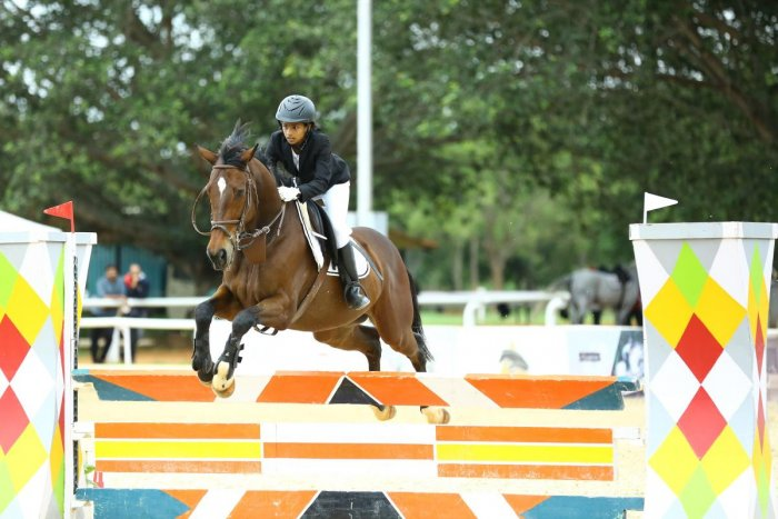 Geethika Tikkishetty won the Children's category title at the Embassy Riding School on Sunday.