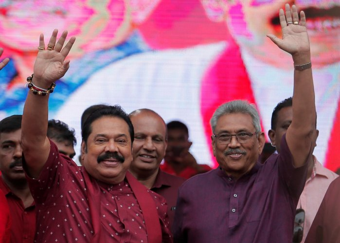 Gotabaya Rajapaksa (R) is credited with directing security forces to crush Tamil rebels and end a 37-year separatist war in May 2009 during the tenure of his elder brother Mahinda (L), who was president from 2005 to 2015. Photo/Reuters