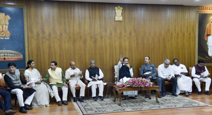Rajya Sabha Chairman M Venkaiah Naidu, Dy Chairman Harivansh Narayan Singh, Union Ministers Piyush Goyal and Nirmala Sitharaman, Senior Congress leader Ghulam Nabi Azad, and others at a meeting of All Partys of Rajya Sabha, in New Delhi, Sunday, Nov. 17, 2019. and others. PTI