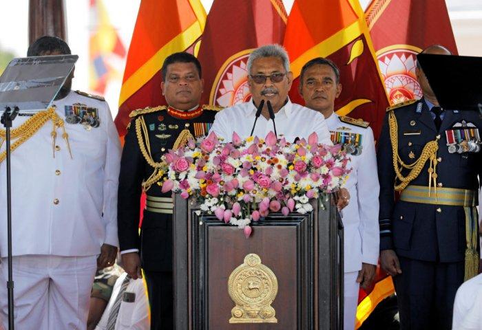 Sri Lanka's President-elect Gotabaya Rajapaksa addresses the nation, at the presidential swearing-in ceremony in Anuradhapura, Sri Lanka Novermber 18, 2019. (Reuters photo)