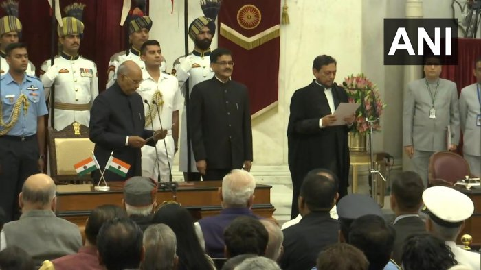 Justice Bobde was administered the oath of the office by President Ram Nath Kovind in a ceremony at the Rashtrapati Bhavan. Photo/ANI