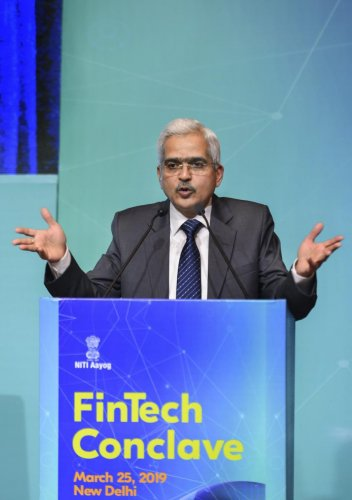 RBI Governor Shaktikanta Das delivering the keynote address during the NITI Aayog's FinTech Conclave 2019. (PTI Photo)