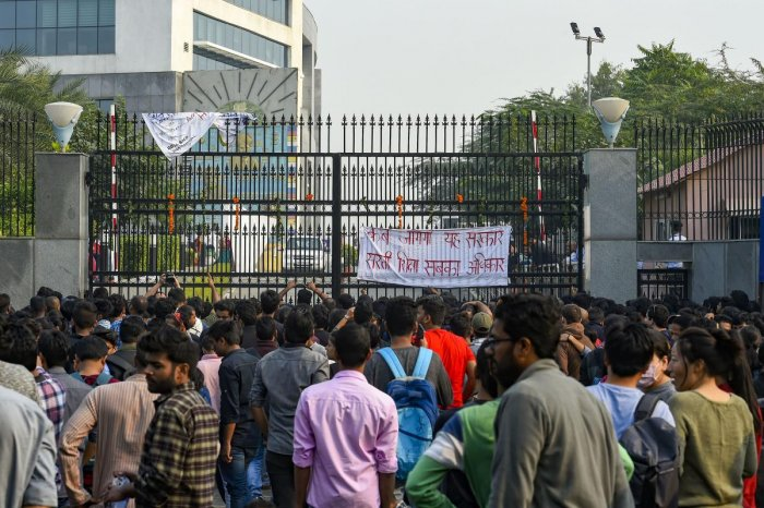 Jawaharlal Nehru University (JNU) students stage a protest over the hostel-fee hike and the administration's alleged 'anti-students' policy, outside the AICTE Auditorium in New Delhi (PTI Photo)