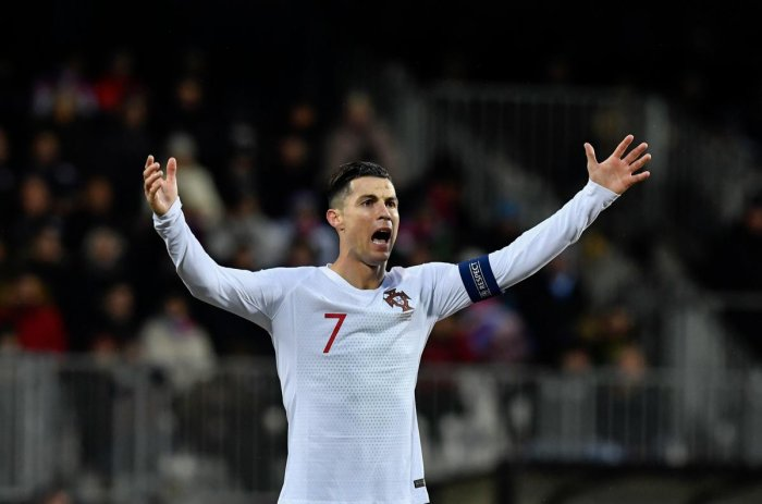 Portugal's forward Cristiano Ronaldo celebrates after scoring a goal during the UEFA Euro 2020 Group B qualification football match between Luxembourg and Portugal at the Josy Barthel Stadium in Luxembourg on November 17, 2019. (Photo by AFP)