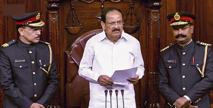 Rajya Sabha Chairman M Venkaiah Naidu addresses in the Rajya Sabha on the first day of the Winter Session of Parliament, in New Delhi, Monday, Nov. 18, 2019. (RSTV/PTI Photo)