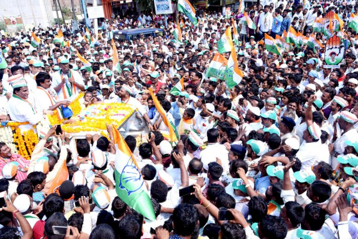 Congress candidate for Assembly by-election from Gokak, Lakhan Jarkiholi, take out a road show ahead of filing of nomination papers on Monday.