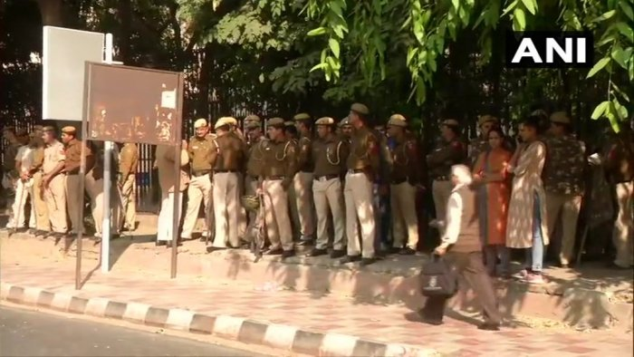 Ten companies are deployed outside JNU, police said. One company comprises 70 to 80 personnel. Photo/ANI