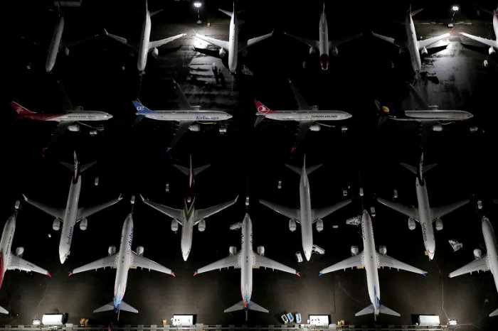 Aerial photos showing Boeing 737 Max airplanes parked at Boeing Field in Seattle, Washington. (Reuters Photo)