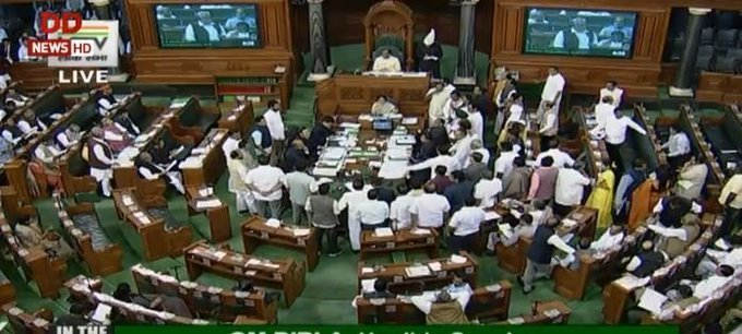 More than 20 members from the Congress and the National Conference trooped into the Well of the House during the Question Hour even as Speaker Om Birla asked them repeatedly to go back to their seats.