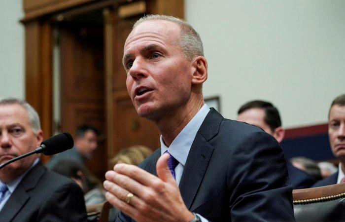 Boeing Chief Executive Dennis Muilenburg testifies before the House Transportation and Infrastructure Committee during a hearing on the grounded 737 MAX in the wake of deadly crashes. (Reuters Photo)
