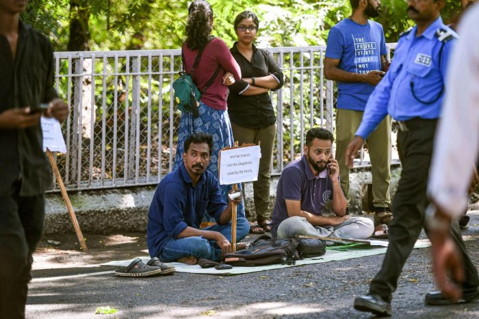 Two students of the IIT Madras, Azhar Moideen and Justin Joseph launched an indefinite hunger strike demanding a fair probe in the alleged suicide case of 19-year-old student Fatima Latheef, in Chennai. (PTI Photo)