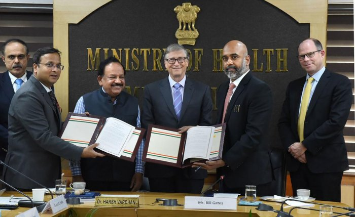 Bill & Melinda Gates Foundation Co-Chair Bill Gates and Union Minister for Health & Family Welfare Harsh Vardhan exchange Memorandum of Cooperation between MoHFW and BMGF for cooperation in the health sector, in New Delhi. Photo/PTI