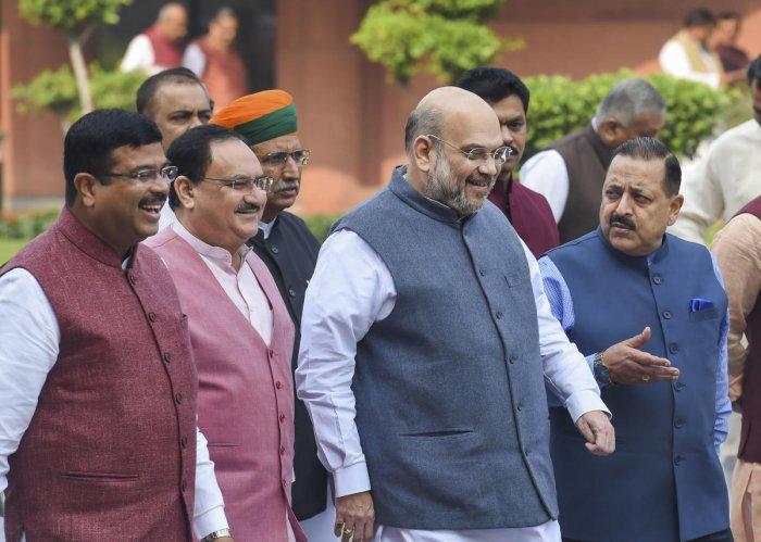 Union Home Minister Amit Shah, BJP leaders Jagat Prakash Nadda, Dharmendra Pradhan, Jitendra Singh, Arjun Ram Meghwal and Pralhad Joshi leave after the BJP parliamentary party meeting at Parliament House, in New Delhi, Tuesday, Nov. 19, 2019.(PTI Photo)