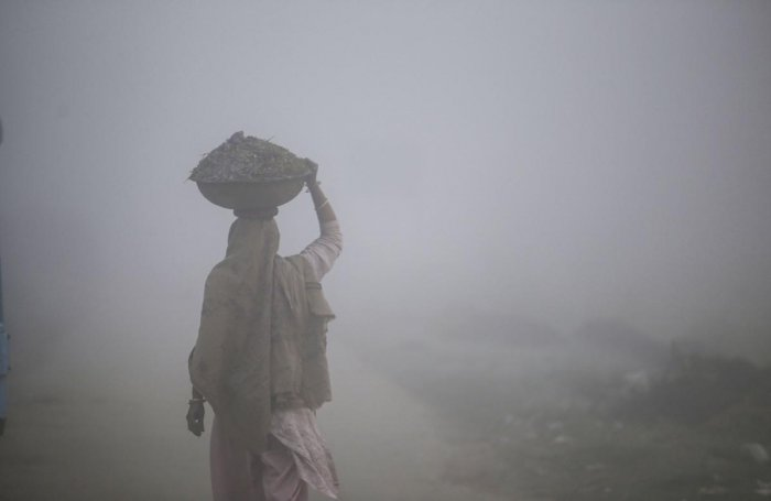 A villager walks on a road shrouded in dense fog on a cold winter morning, at Ranbir Singh Pura on the outskirts of Jammu. PTI