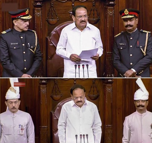 In this combo photo, (top) Rajya Sabha Chairman M Venkaiah Naidu flanked by Upper-House Marshals in their new dress during the first day of the Winter Session of Parliament.