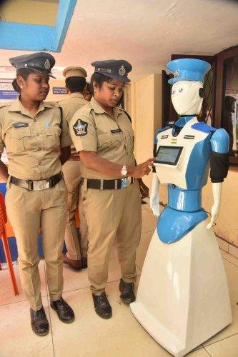 Ms Cybira with lady constables in Visakhapatnam