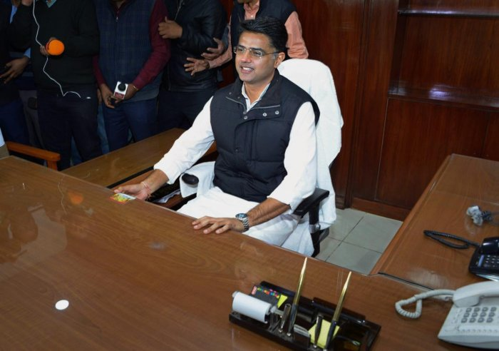 """""""This is the win of everyone who trusts the Congress party,"""" Sachin Pilot said. PTI"""