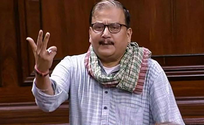 RJD MP Manoj K Jha speaks in the Rajya Sabha during the Winter Session of Parliament. PTI