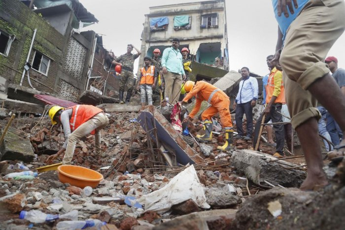 Bhiwandi: Rescue operations underway after a building collapsed in Bhiwandi city near Thane, Saturday, Aug 24, 2019. (PTI Photo)(PTI8_24_2019_000107B)