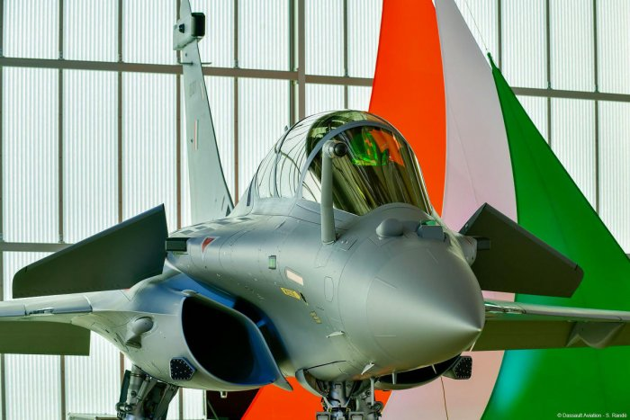 A view of a Rafale jet amongst the 36 jets which was officially recieved by Defence Minister Rajnath Singh. (PTI Photo)
