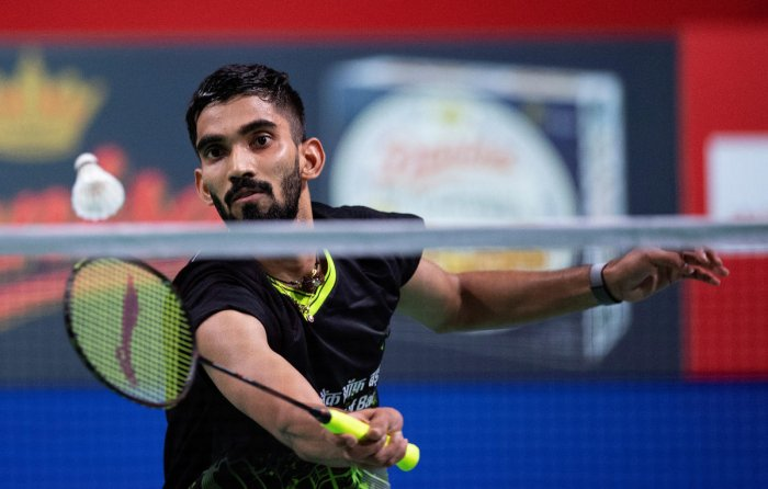 Srikanth Kidambi of India in action in his match against Anders Antonsen of Denmark. (Photo by Reuters)