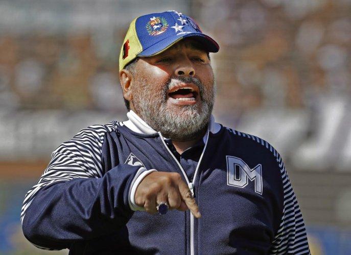 Argentina's Gimnasia y Esgrima La Plata coach, former football star Diego Armando Maradona. (Photo by Reuters)