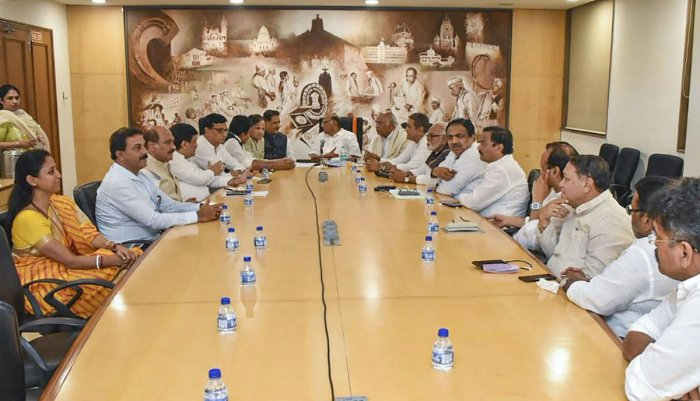 Congress leaders during a meeting with Nationalist Congress Party. ( Photo by Twitter)