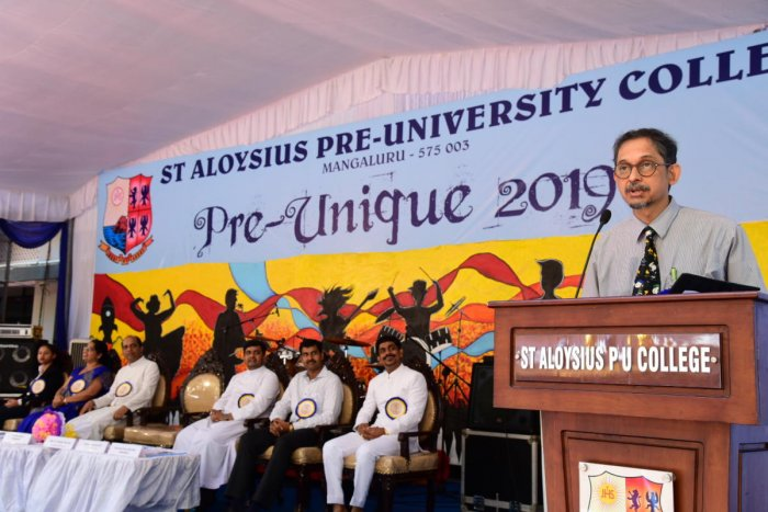 Father Muller Hospital Pediatrics Department Head Dr Pavan Hegde speaks at the valedictory of 'Pre-Unique 2019' at St Aloysius College in Mangaluru.