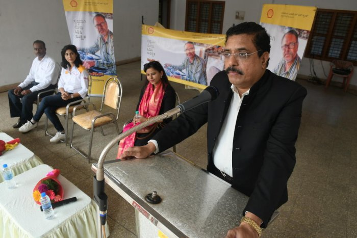 NMPTChairman AV Raman speaks during the launch of 'Vision Correction' initiative organised jointly by the NMPT, Shell India and VisionSpring on Tuesday.