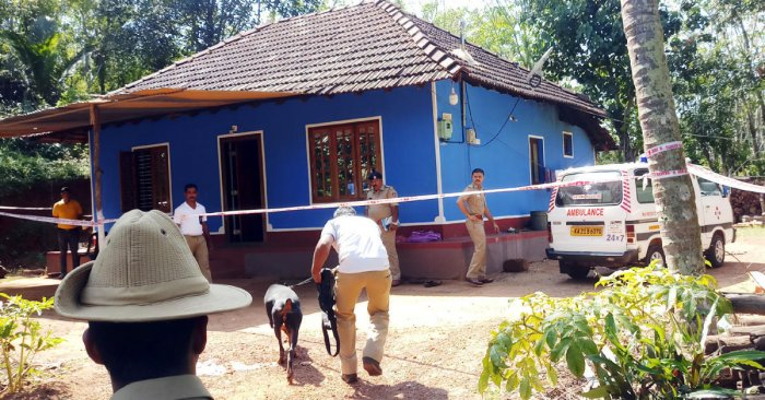 The house at Hosamaru in Kuriyada village, Puttur taluk, which witnessed a double murder, was cordoned off to public on Tuesday.