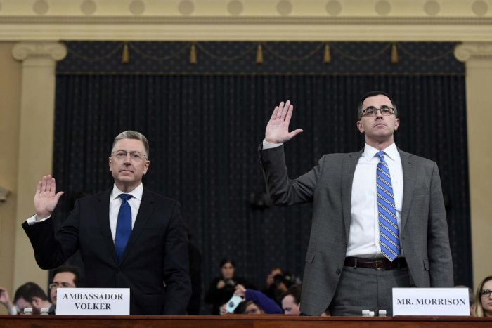 Washington: Ambassador Kurt Volker, left, former special envoy to Ukraine, and Tim Morrison, a former official at the National Security Council are sworn in to testify before the House Intelligence Committee on Capitol Hill in Washington, Tuesday, Nov. 19