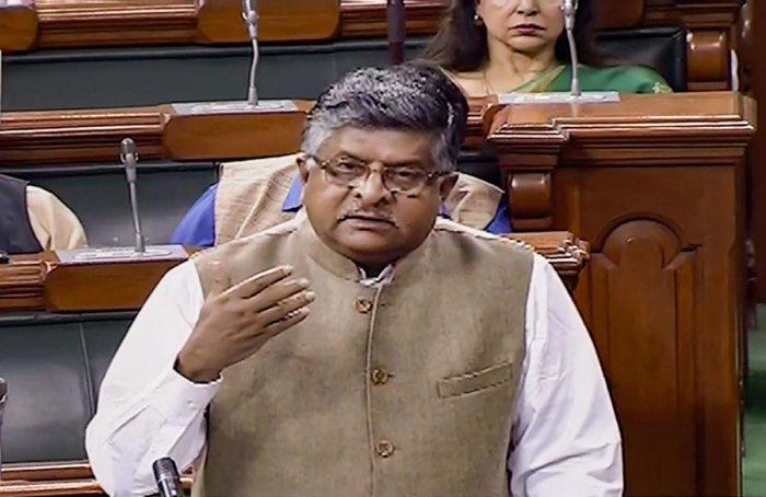 Union Minister Ravi Shankar Prasad speaks in the Lok Sabha during the Winter Session of Parliament, in New Delhi. (PTI Photo)